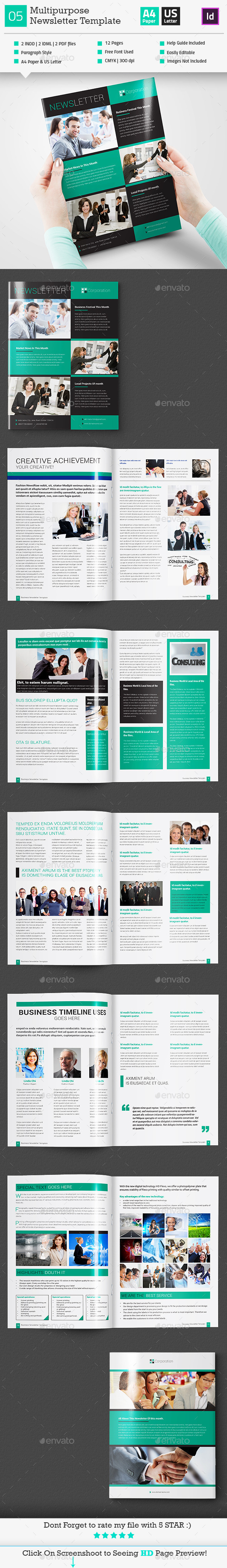 GraphicRiver Multipurpose Newsletter Template InDesign V4 11181438