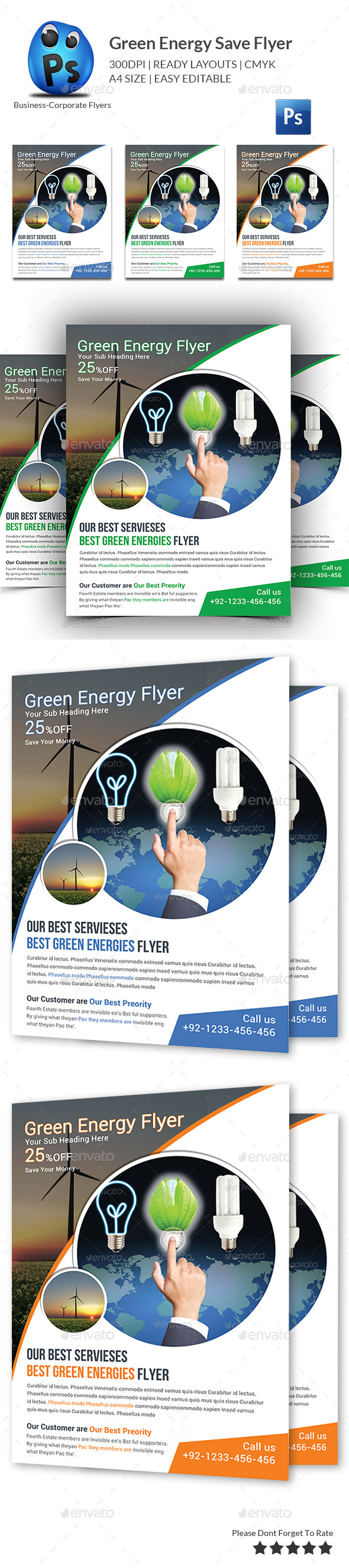 GraphicRiver Green Energy Save Flyer Template 11181508
