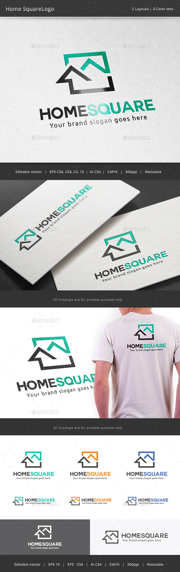 GraphicRiver Home Square Real Estate Logo 11181917