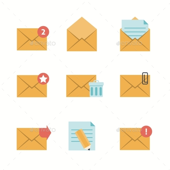 GraphicRiver Message Icons Flat 11182115