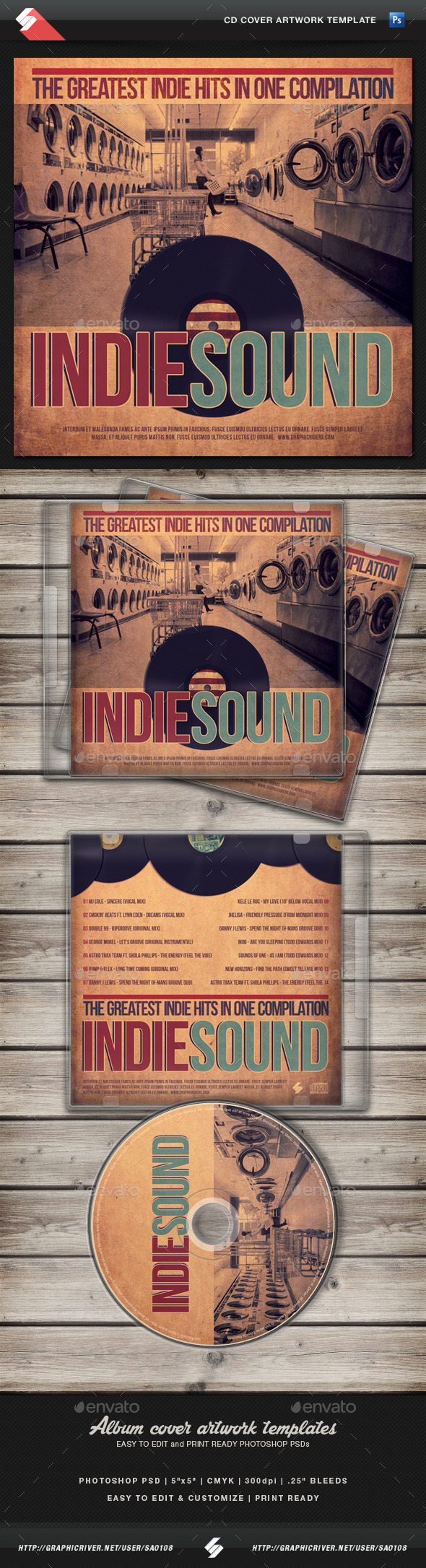 GraphicRiver Indie Sound 03 CD Cover Artwork Template 11182329