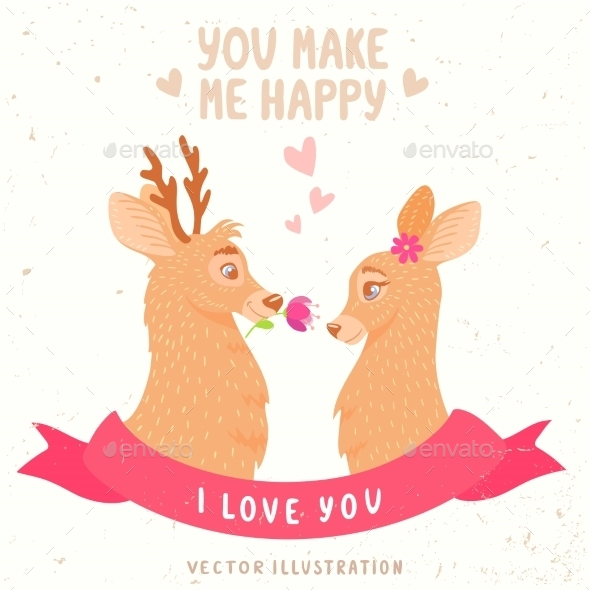 GraphicRiver Deers Couple 11182578