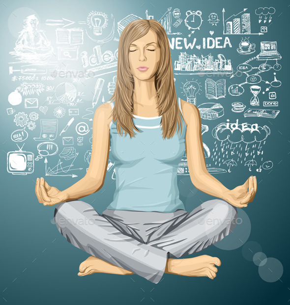 GraphicRiver Woman Meditating in Lotus Pose 11182628