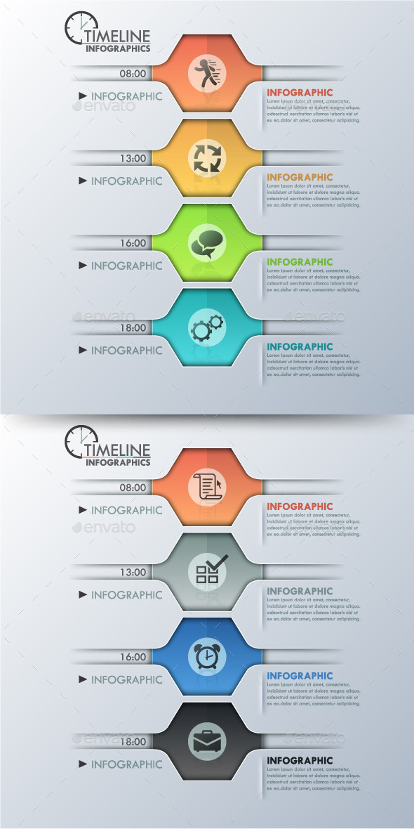 GraphicRiver Modern Infographic Polygon Timeline 2 Colors 11183224