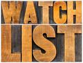 watchlist word typography in wood type - PhotoDune Item for Sale
