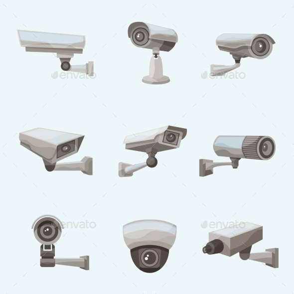 GraphicRiver Surveillance Camera Realistic Icons 11183594