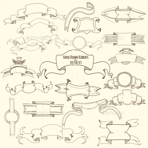 GraphicRiver Hand Drawn Ribbons Set 11183702