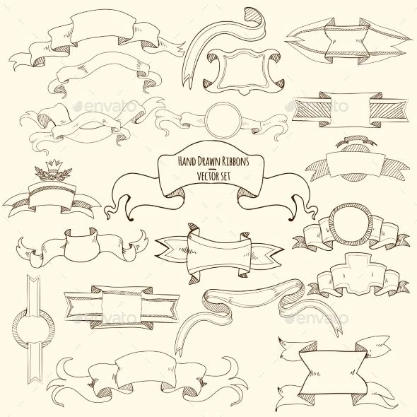 GraphicRiver Hand Drawn Ribbons Set 11183702