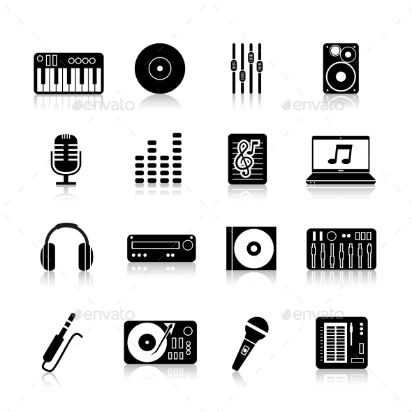 GraphicRiver DJ Icons Black Set 11183879