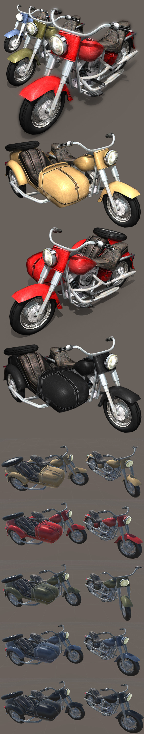 3DOcean Heavy Motorcycle with Sidecar 11184440