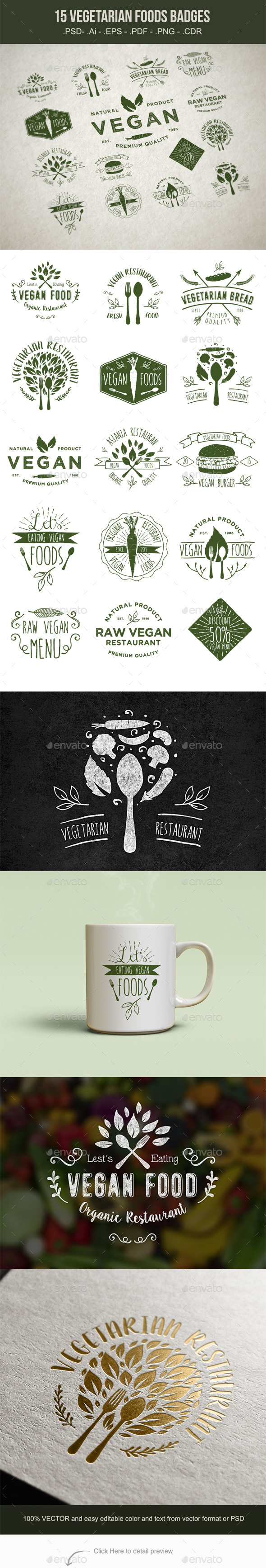GraphicRiver 15 Vegetarian Foods Badges 11184810