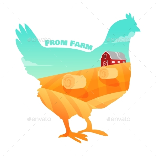 GraphicRiver Hen with Farm Background Inside 11184812
