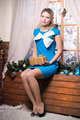 Sexy blond woman in blue dress - PhotoDune Item for Sale