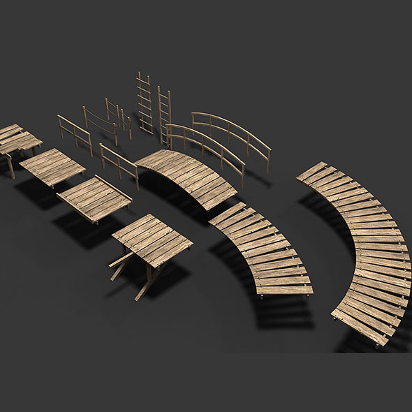 3DOcean Modular Wood Walkway or Jetty Part 2 11186839