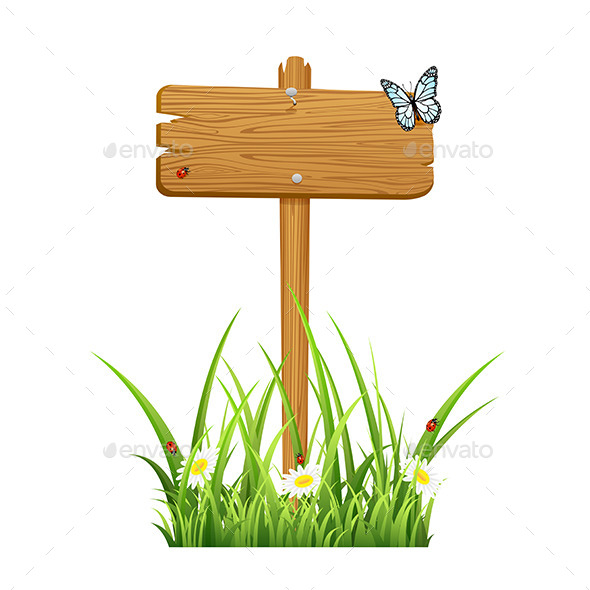 GraphicRiver Wooden Sign in Grass 11187205
