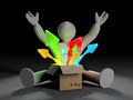 3d white character with box and coming out arrows - PhotoDune Item for Sale
