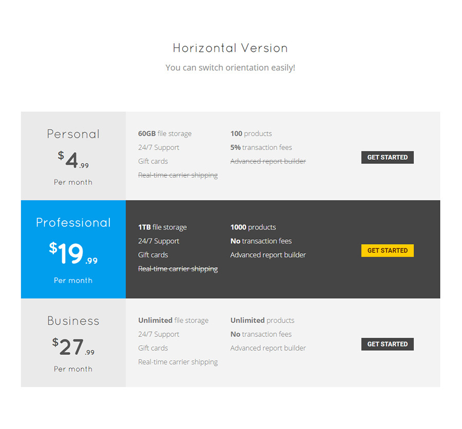 Pricing table layers extension wordpress plugin by for Table th horizontal