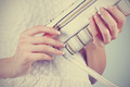 Beautiful female hands with manicure with a handbag - PhotoDune Item for Sale