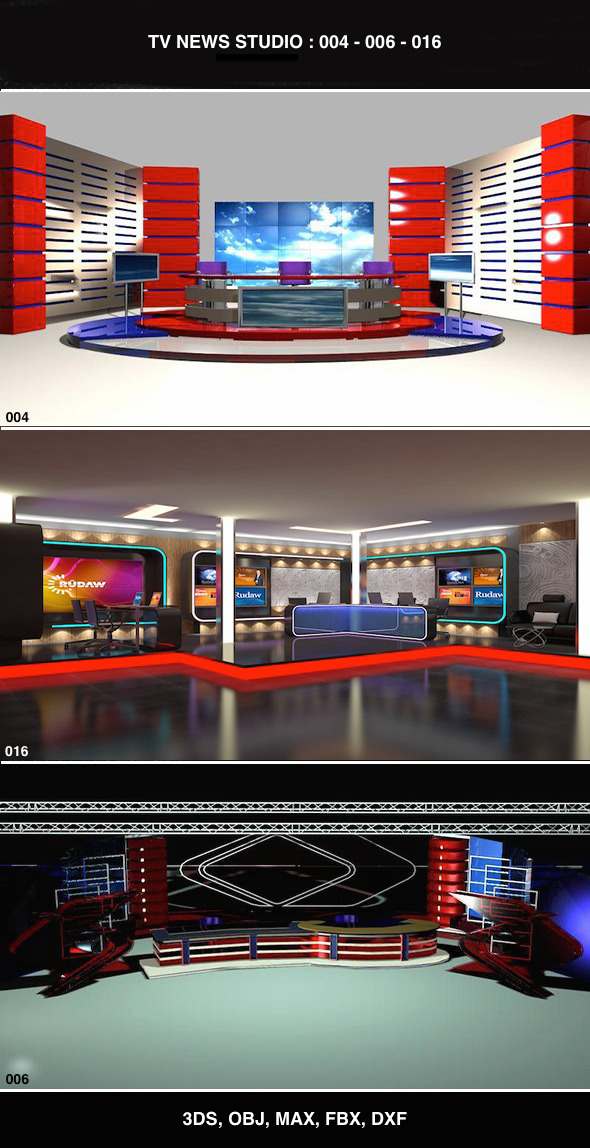 3DOcean Tv News Studio Set Design Bundle 004 006 016 11188327