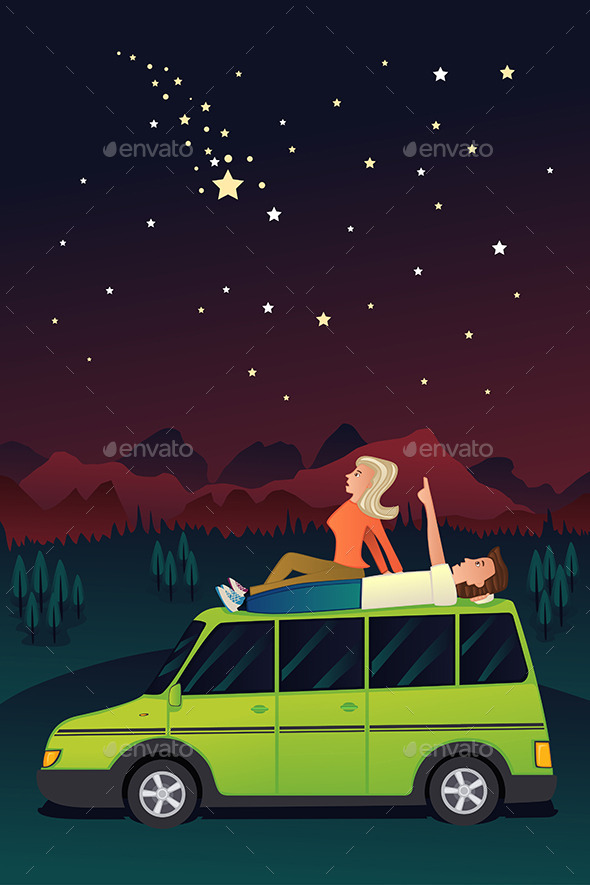 GraphicRiver Couple Watching the Stars in the Sky 11189987