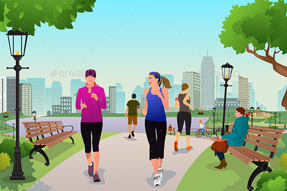 GraphicRiver Women Running in a Park 11190422