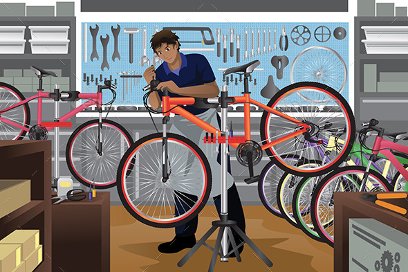 GraphicRiver Bike Repairman Repairing a Bicycle in His Shop 11190501