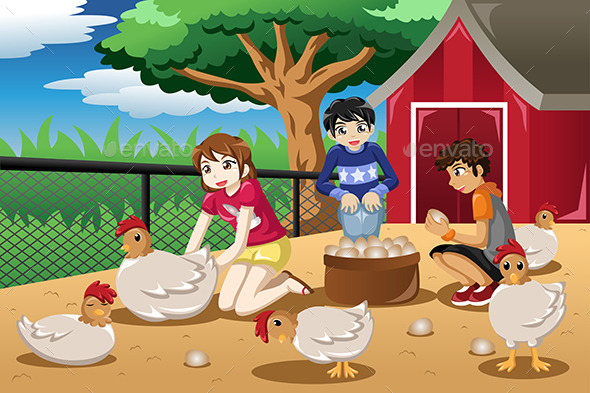 GraphicRiver Children Collecting Eggs from the Farm 11190524