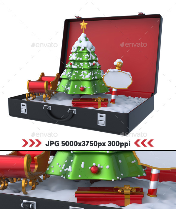 GraphicRiver Christmas Winter Scene Inside Suitcase 3D 11166744