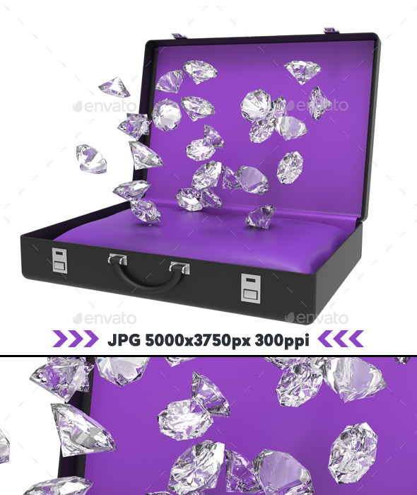 GraphicRiver Diamonds Falling Inside Suitcase 3D 11166747