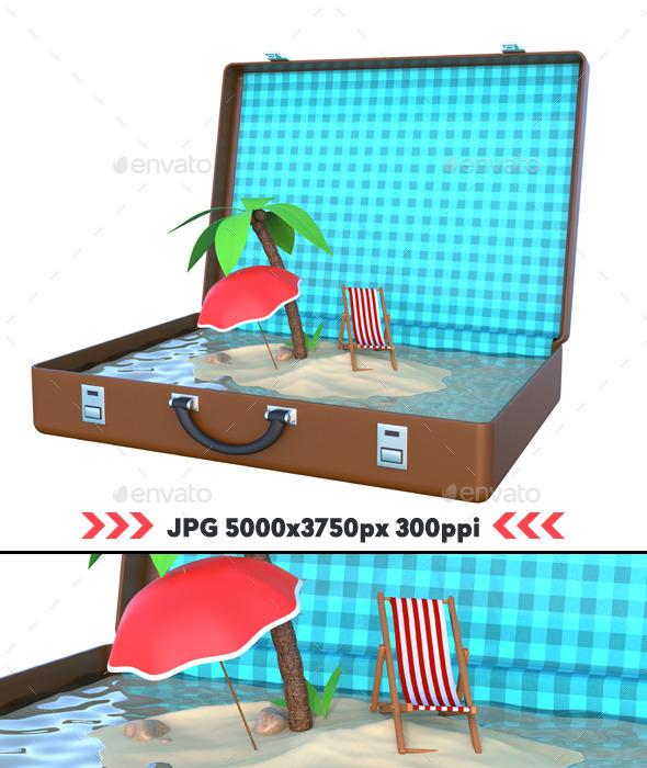GraphicRiver Mini Island Inside Suitcase 3D 11166770