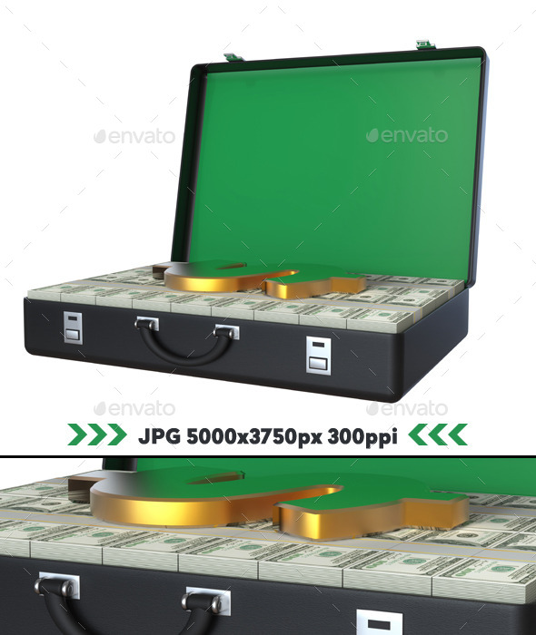 GraphicRiver Suitcase Full of Dollars 3D 11166780