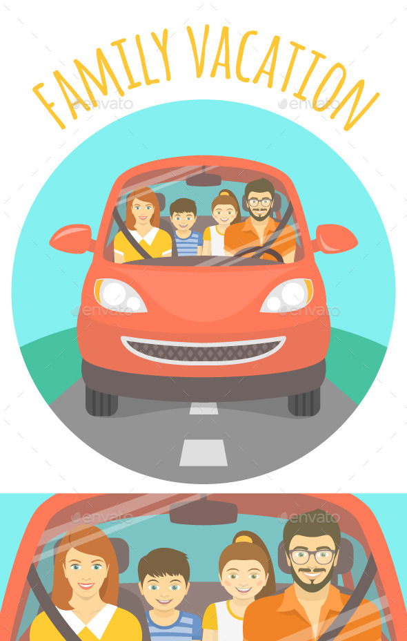 GraphicRiver Family Vacation Trip by Car 11192101