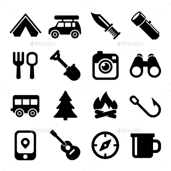 GraphicRiver Camping Icons Set 11192155