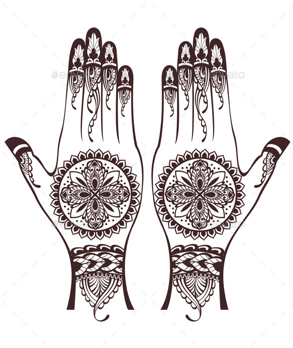 GraphicRiver Vector Illustration of Hands with Henna Tattoos 11192435