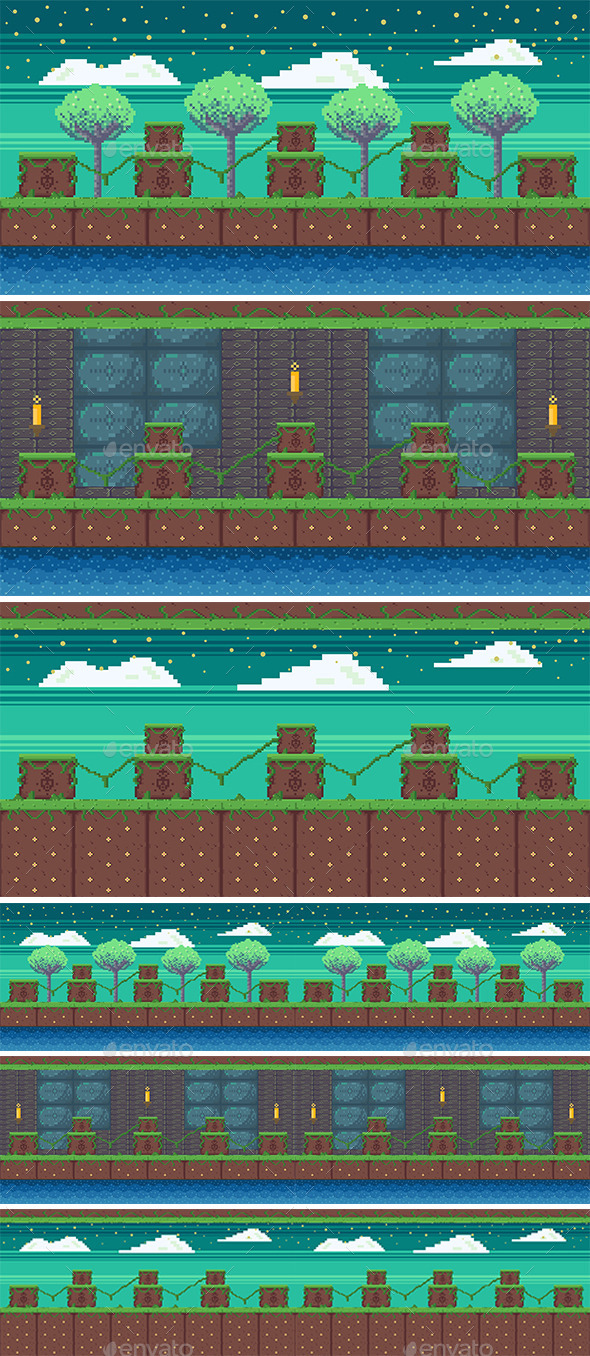 GraphicRiver Nature Pixel Art Game Background 11194218