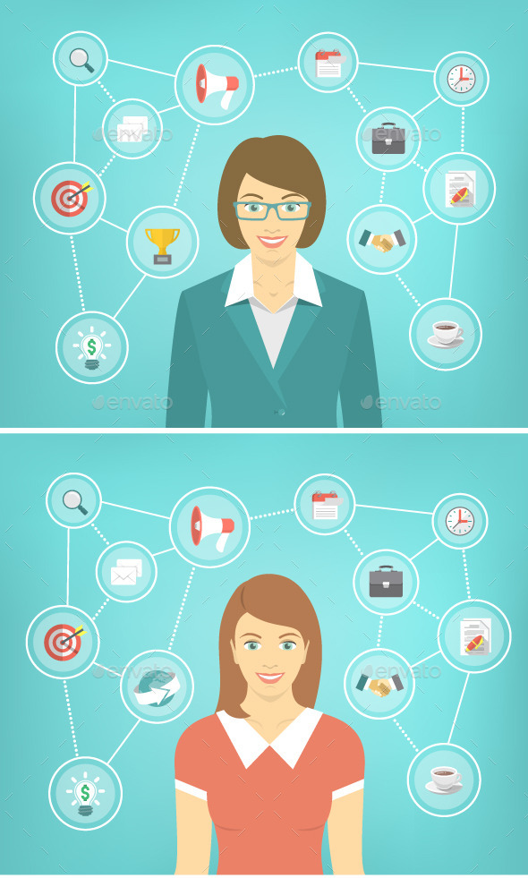 GraphicRiver Modern Busines Woman Conceptual Infographics 11194230
