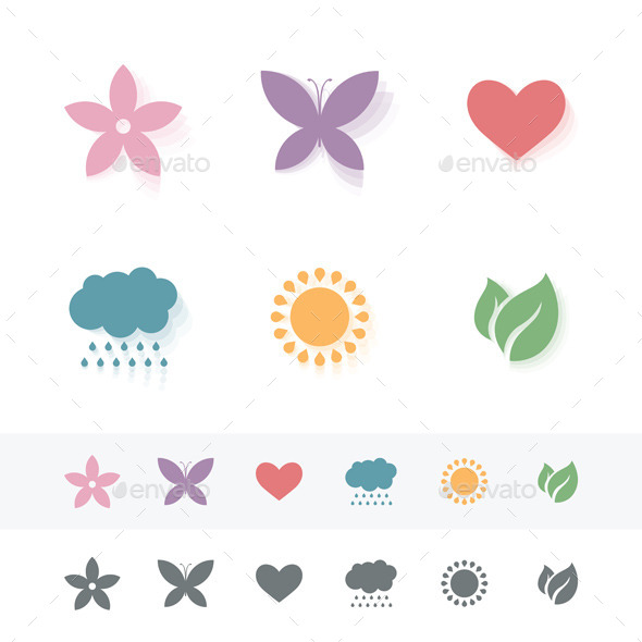 GraphicRiver Set of Simple Romantic Icons 11194360