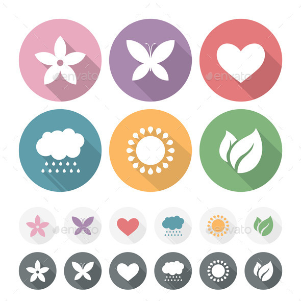 GraphicRiver Set of Simple Romantic Flat Icons 11194366