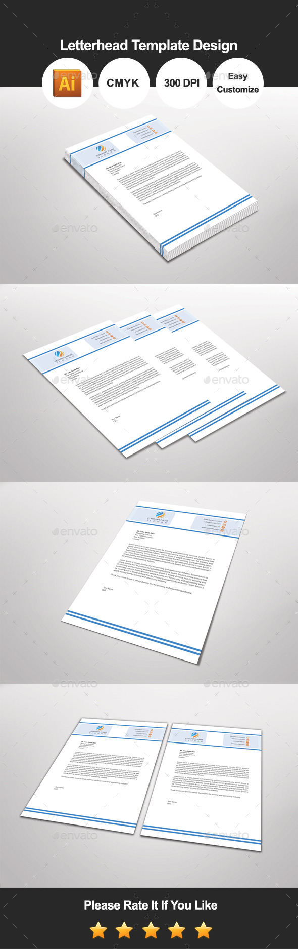 GraphicRiver Blueatina Letterhead Template Design 11111015