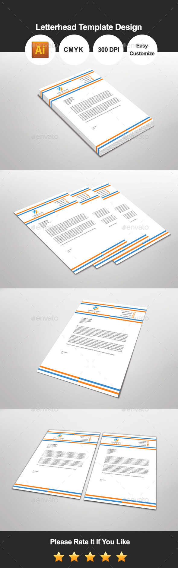 GraphicRiver Bluorga Letterhead Template Design 11111053