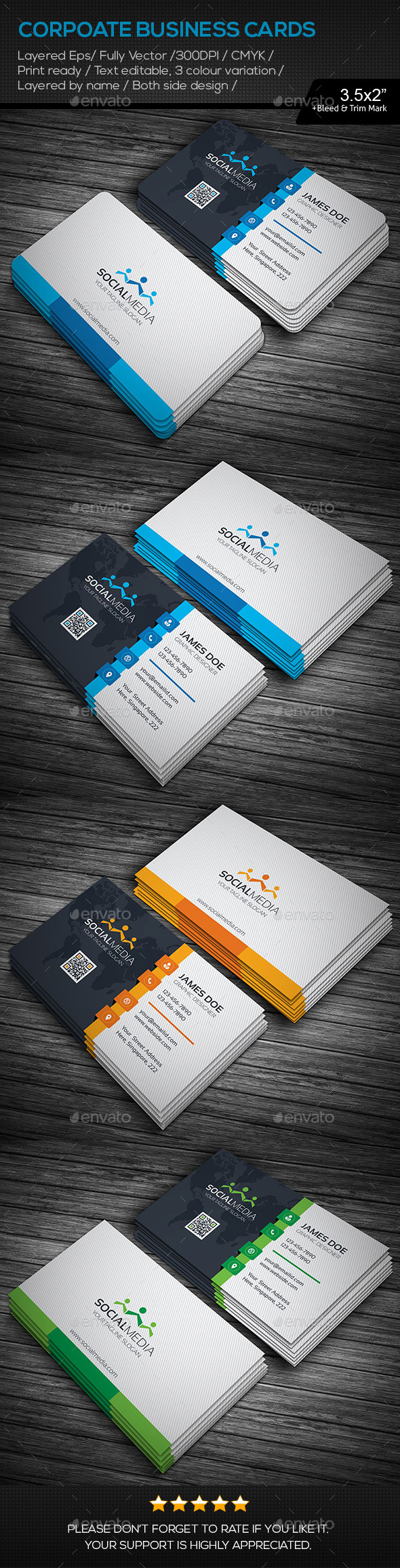 GraphicRiver Social Media Corporate Business Cards 11195378