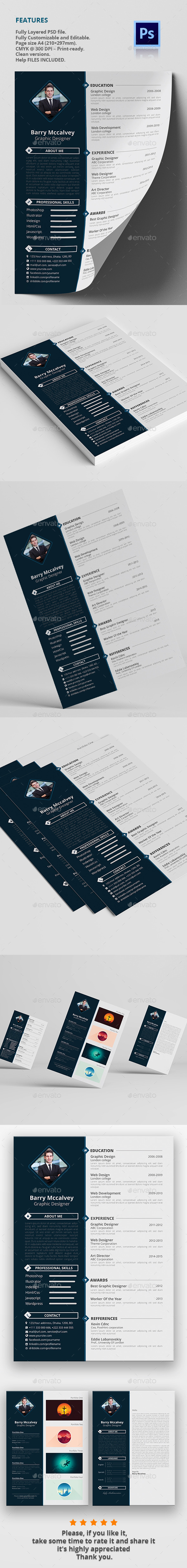 GraphicRiver Clean & Simple Resume CV 11159454