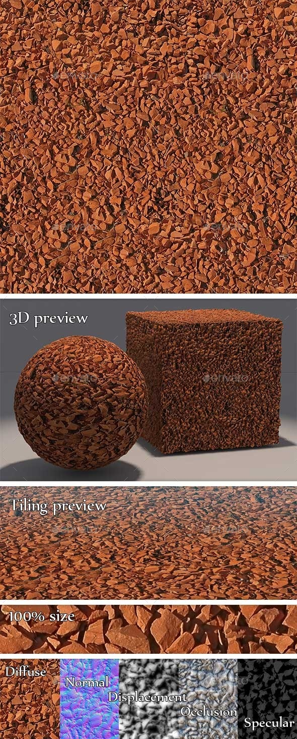 3DOcean Gravel Red Stones Seamless Texture 11195569