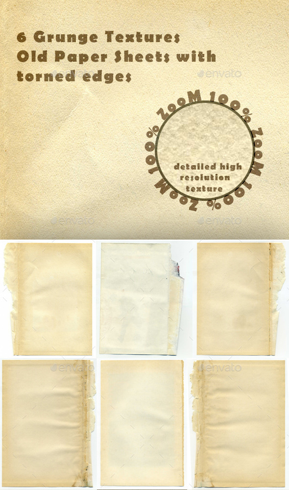 GraphicRiver 6 Old Paper Sheets 11195623