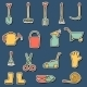 Set of Hand Drawn Stickers with Garden Tools - GraphicRiver Item for Sale