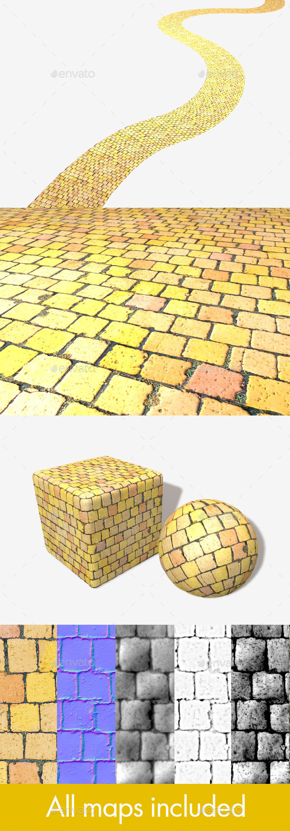Yellow Brick Road Seamless Texture - 3DOcean Item for Sale