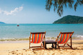 Two beach chairs on idyllic tropical beach. - PhotoDune Item for Sale