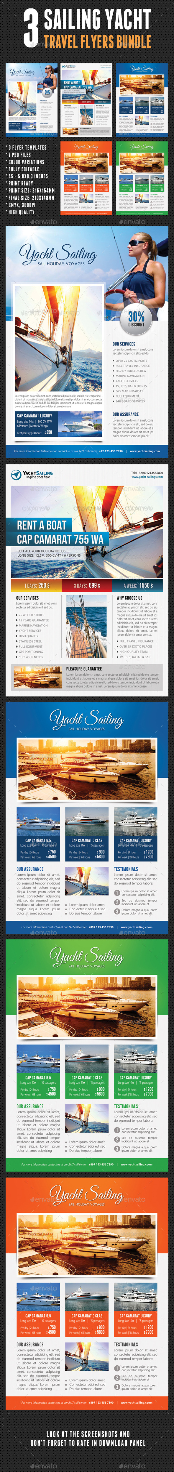 GraphicRiver 3 in 1 Sailing Yacht Travel Flyers Bundle V02 11196790