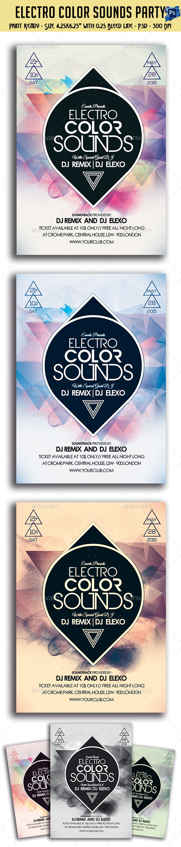 GraphicRiver Electro Color Sounds Party Flyer 11157162