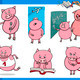 piglet character student cartoon set - PhotoDune Item for Sale